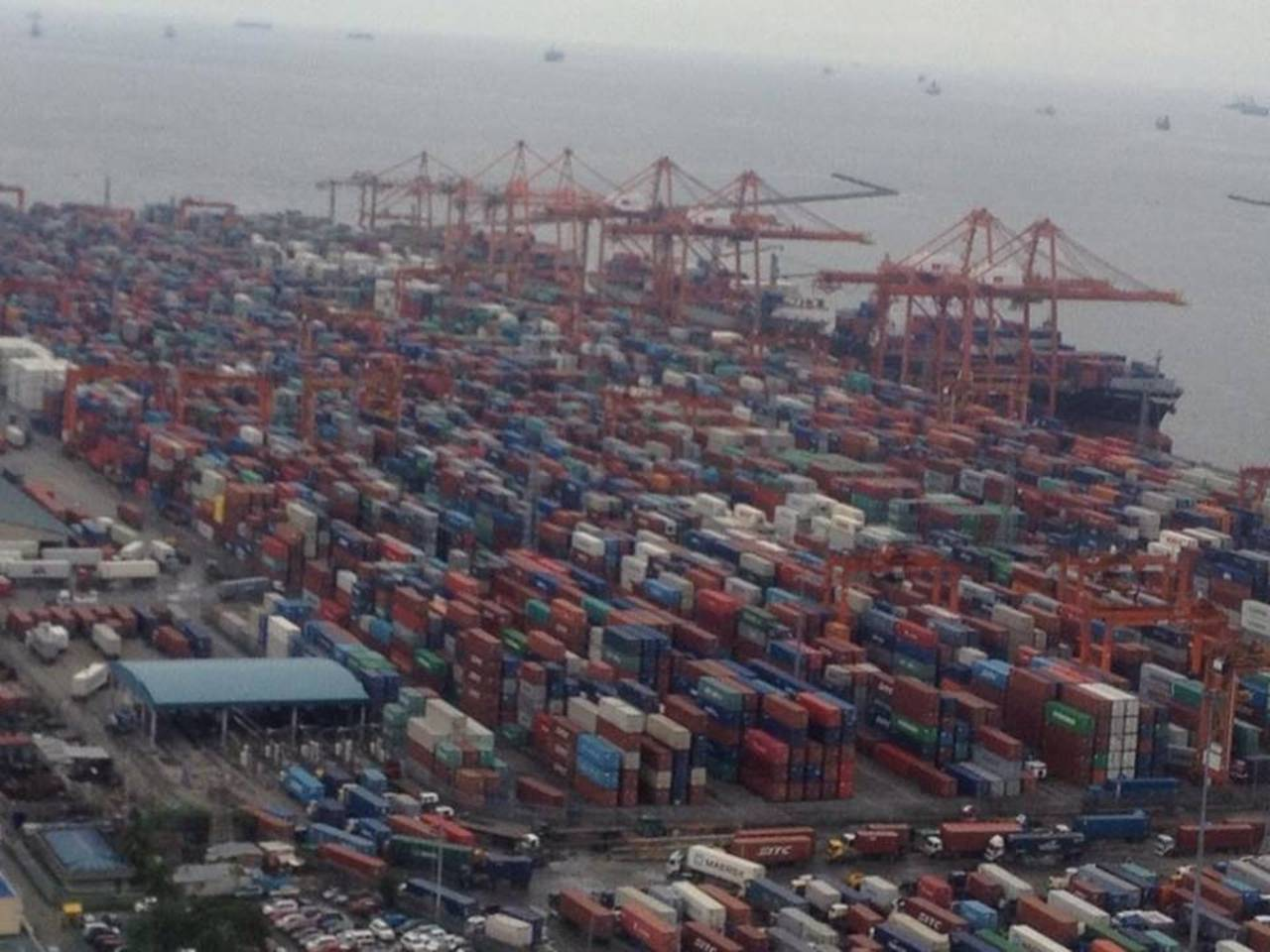 Packed Port During Slowdown
